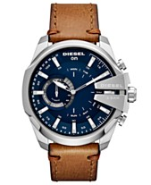 8577ecb213d4 Diesel Men s Mega Chief Brown Leather Strap Hybrid Smart Watch 48mm