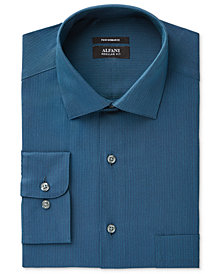 Alfani Men's Classic/Regular Fit Performance Stretch Easy-Care Teal Twill Dot Dobby Dress Shirt, Created for Macy's
