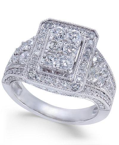 diamond cluster engagement ring 2 ct tw in 14k white gold macys - Macys Wedding Rings