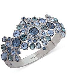 Givenchy Silver-Tone Crystal Statement Bangle Bracelet
