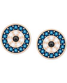 Rose Gold-Tone Blue & Clear Pavé Evil Eye Stud Earrings