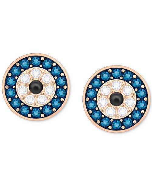 c25e90b43 ... Stud Earrings; Swarovski Rose Gold-Tone Blue & Clear Pavé ...