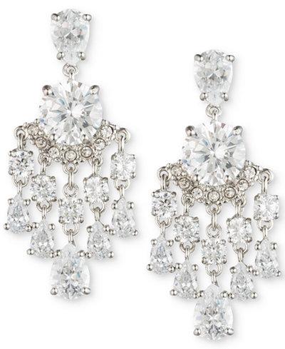 Carolee Silver Tone Crystal Chandelier Earrings