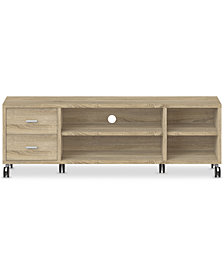 Antyn TV Stand with Adjacent Shelves, Quick Ship