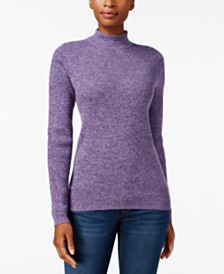 Karen Scott Cotton Mock-Neck Sweater, Created for Macy's