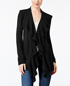 Karen Scott Petite Ruffle-Trim Draped Cardigan, Created for Macy's