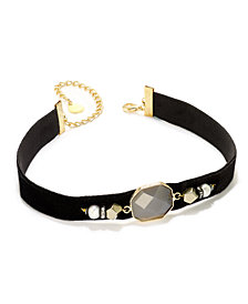 Paul & Pitü Naturally Two-Tone Pavé, Imitation Pearl & Purple Stone Black Velvet Choker Necklace
