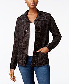 Karen Scott Petite Wing-Collar Cardigan, Created for Macy's