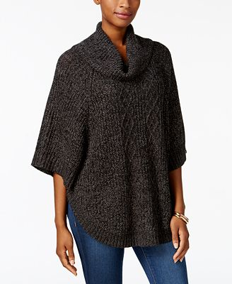 Karen Scott Cable Knit Poncho Sweater Created For Macys Sweaters