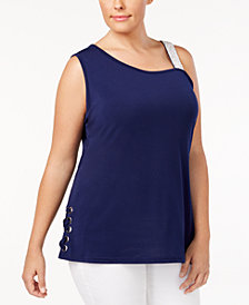 Belldini Plus Size Rhinestone-Strap Lace-Up Top