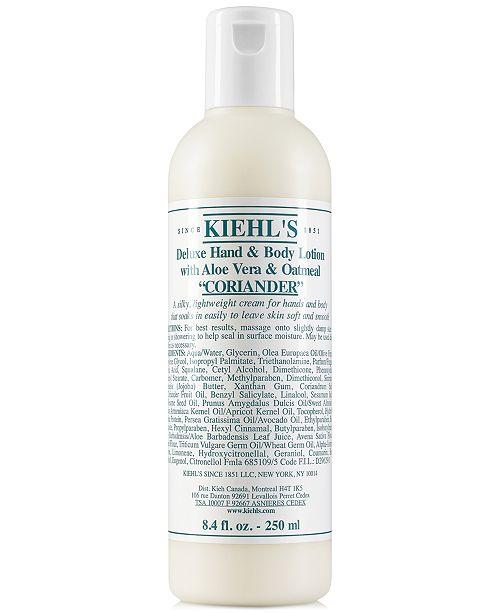 Kiehl's Since 1851 Deluxe Hand & Body Lotion With Aloe Vera & Oatmeal - Coriander, 8.4-oz.