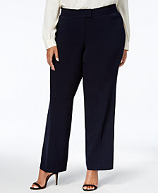 JM Collection Plus Size Tummy Control Curvy-Fit Straight-Leg Pants, Created for Macy's