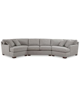 Carena 3-Pc. Fabric Sectional with Double Cuddler Chaise and Armless Loveseat, Created for Macy's