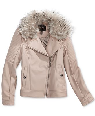 Jessica Simpson Faux-Leather Jacket with Faux-Fur Collar, Big ...