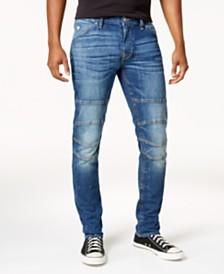 13af923f12f730 GUESS Men s Slim-Fit Tapered Stretch Destroyed Moto Jeans