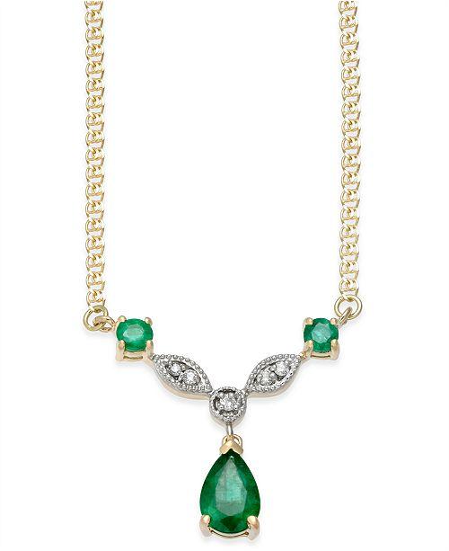 Emerald (9/10 ct. t.w.) & Diamond Accent Pendant Necklace in 14k Gold