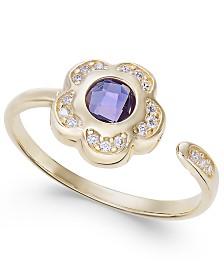 Amethyst (5/8 ct. t.w.) & Diamond (1/10 ct. t.w.) Flower Cuff Ring in 14k Gold
