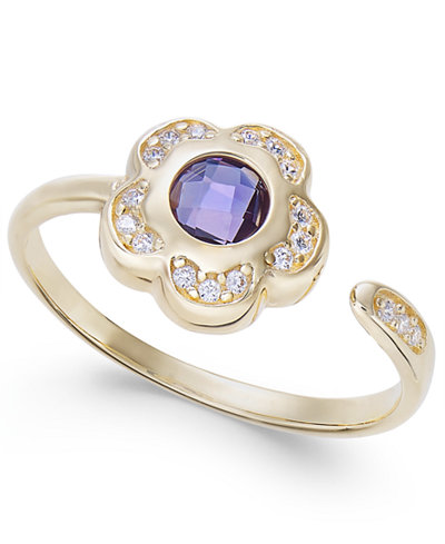 Amethyst (5/8 ct. t.w.) & Diamond (1/10 ct. t.w.) Flower Cuff Ring in 14k Gold
