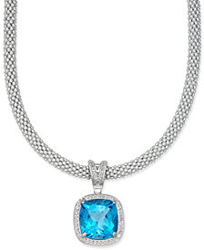 Swiss Blue Topaz (14 ct. t.w.) & Diamond (1/2 ct. t.w.) Mesh Necklace in Sterling Silver
