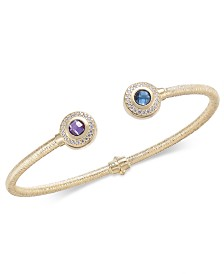 Multi-Gemstone (1-1/4 ct. t.w.) & Diamond (1/5 ct. t.w.) Hinged Cuff Bracelet in 14k Gold-Plated Sterling Silver