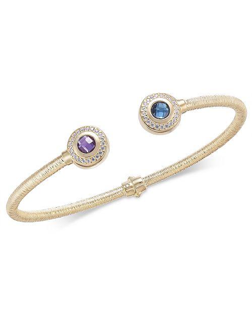 Macy's Multi-Gemstone (1-1/4 ct. t.w.) & Diamond (1/5 ct. t.w.) Hinged Cuff Bracelet in 14k Gold-Plated Sterling Silver