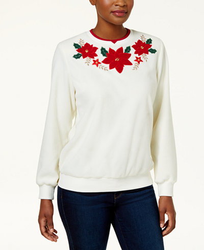 Alfred Dunner Petite Poinsettia Layered-Look Knit Top