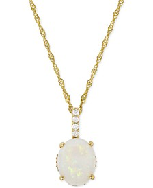 Opal (1-5/8 ct. t.w.) & Diamond (1/10 ct. t.w.) Pendant Necklace in 14k Gold