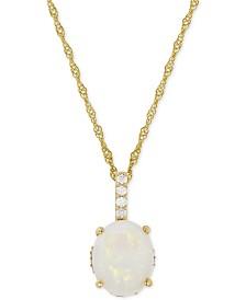 Opal (1-5/8 ct. t.w.) & Diamond (1/10 ct. t.w.) Pendant Necklace in 14k Gold