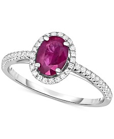 Certified Ruby (3/4 ct. t.w.) & Diamond (1/6 ct. t.w.) Ring in 14k White Gold