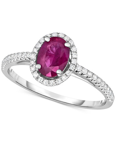 Certified Ruby (3/4 ct. t.w.) & Diamond (1/6 ct. t.w.) Ring in 14k White Gold