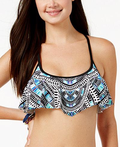 California Waves Juniors' Sea Glass Deco Strappy-Back Flounced Bikini Top, in D/DD, Created for Macy's