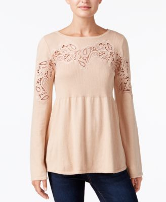 Style /& Co...... Lace-Accent Babydoll Sweater