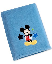 Disney Mickey Mouse Embroidered Appliqué Plush Blanket