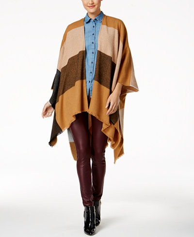 Anne Klein Abstract Colorblocked Plaid Cape