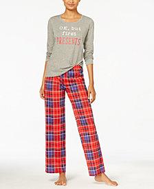Jenni by Jennifer Moore Knit Top & Printed Pants Pajama Set, Created for Macy's