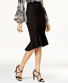 Thalia Sodi Flounce-Hem Pencil Skirt, Created for Macy's