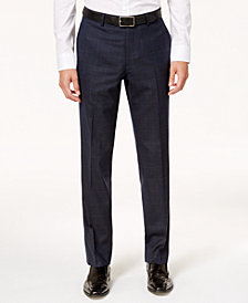 Bar III Men's Slim-Fit Active Stretch Navy/Tan Windowpane Suit Pants, Created for Macy's
