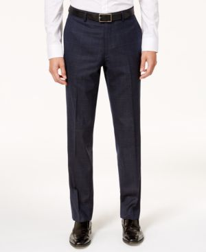 Bar Iii Men's Slim-Fit Active Stretch Navy/Tan Windowpane Suit Pants, Created for Macy's thumbnail