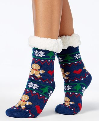 Charter Club Women's Holiday Slipper Socks,with Fleece & Grippers ...
