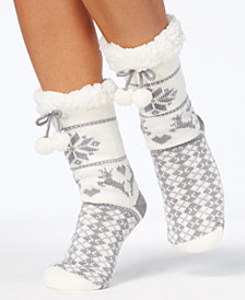Charter Club Women's Fair Isle Slipper Socks with Fleece & Grippers, Created for Macy's