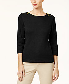 Karen Scott Cotton Zip-Shoulder Sweater, Created for Macy's