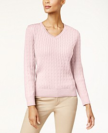 Solid Cable-Knit V-Neck Sweater, Created for Macy's