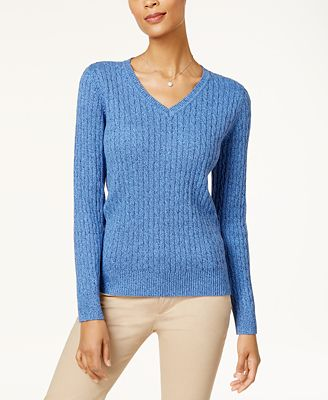 Karen Scott Cotton V-Neck Cable-Knit Sweater, Created for Macy's ...