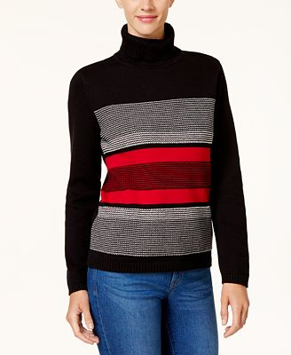 Karen Scott Cotton Striped Turtleneck Sweater, Created for Macy's ...