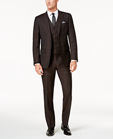 Tallia Men's Slim-Fit Brown Textured Windowpane Vested Wool Suit