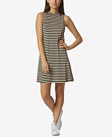 Avec Les Filles Mock-Neck Striped Dress