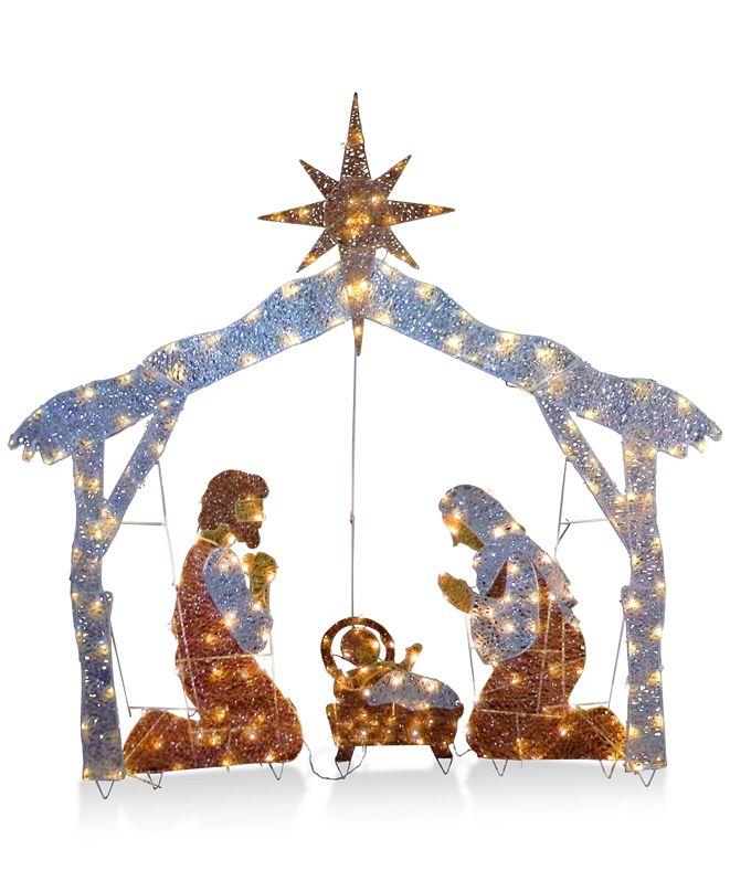 "National Tree Company 72"" Crystal Nativity With 250 Clear Mini Lights"