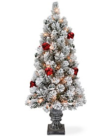 4' Snowy Bristle Pine Entrance Tree With Urn Base, Ornaments & 70 Clear Lights