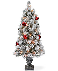 National Tree Company 4' Snowy Bristle Pine Entrance Tree With Urn Base, Ornaments & 70 Clear Lights