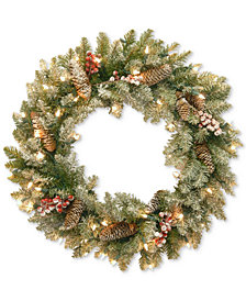 "National Tree Company 24"" Dunhill® Fir Wreath with Snow, Red Berries, Cones & 50 Lights"